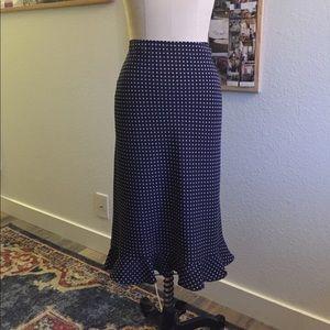 Moda International blue polka dot ruffle skirt